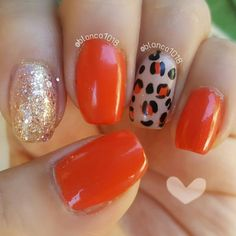 Orange Leopard nails