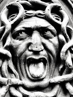 Head of Medusa, carved on a door in Paris Medusa Art, Medusa Gorgon, Turn To Stone, Grey Art, Medieval, Green Man, Old Master, Creature Design, Greek Mythology