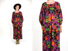 Vintage 1970's Neon Floral Print Dress Bohemian Romantic Women's Retro/Hipster/Mod Size Medium Large Maxi Dress by thiefislandvintage on Etsy