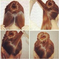 How-to quick bun #hairdo #hairstyle #updo #beautytips