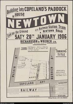 Richardson & Wrench. Building lots & house, Copeland's Paddock, Newtown : near railway station, tram & Newtown Road. 1906. National Library of Australia: http://nla.gov.au/nla.map-lfsp1930