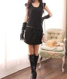 Round Neck Cap Sleeve Bow Decoration Waist Black Cotton Shift Dress