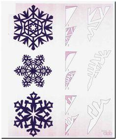 Paper Snowflake Template, Paper Snowflake Patterns, Crochet Snowflake Pattern, Paper Snowflakes, Origami And Kirigami, Paper Crafts Origami, Diy Origami, Christmas Paper, Christmas Crafts For Kids