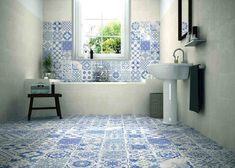 Bathroom Tiles in different blue prints #tiles #bathroom  #homeDecor #interiorDesign #decor #homeDesign