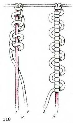 This looks fun- I want to build up knot vocab' for sinnets -chains- using 2 chains, to make some plant hangers that use less than 45 metres of rope. Цепочка из вертикальных узлов