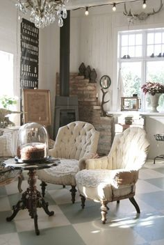 Chairs livingroom Decoration decor inspiration white shabbychic french brocante vintage distressed interior home French Industrial Decor, French Decor, Industrial Décor, Industrial Furniture, Home Interior, Interior Design, Interior Ideas, Decoration Shabby, Muebles Shabby Chic