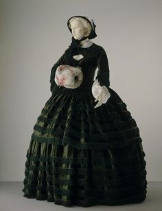 Place of origin: Great Britain (made) - Date: 1855-1857 (made) - Materials and Techniques: Silk plush trimmed with silk fringe and braid, bodice lined with silk and whalebone strips.     So beautiful!