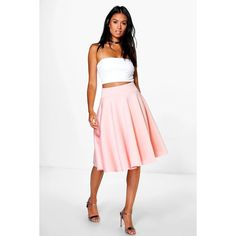 Boohoo Molly Midi Skater Skirt ($10) ❤ liked on Polyvore featuring skirts, pink, midi skirt, mini skirt, pink skater skirt, skater skirts and maxi skirt