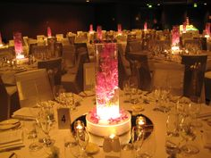 InterContinental Adelaide Ballroom - Pink Singapore Orchid Centrepiece with Light Base