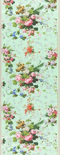 Vining floral pattern. Brightly colored flowers and vine swags printed on mint green satin ground.
