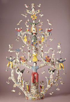 Ceramic Painting, Ceramic Art, Ceramic Sculpture Figurative, Tree Of Life Art, Christmas Tree Art, Art Deco Posters, 3d Studio, Mexican Folk Art, Sacred Art