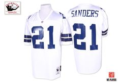 Cheap Mitchell And Ness #21 Deion Sanders Authentic White 1995 Throwback NFL Dallas Cowboys Jersey  on sale