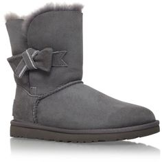 Jasmine Ugg Australia Grey (£200) ❤ liked on Polyvore featuring shoes, boots, ankle booties, grey, grey boots, leather ankle boots, short leather boots, grey leather booties and faux leather boots