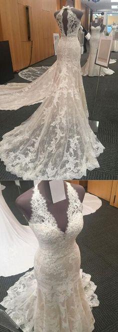 Halter Neck Wedding Dress,Open Back Lace Wedding Dress,Mermaid