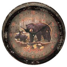 Digital Clocks and Clock Radios: Rivers Edge Products Black Bear Lodge Metal Clock 15 1024 -> BUY IT NOW ONLY: $30.5 on eBay!