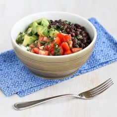 Easy Rice Bowl Recipe with Black Beans, Avocado & Cilantro Dressing {Vegetarian & Gluten-Free}