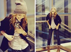 fall outfit: Blazer + Button Down + Jeans + Beanie/Hat + Lace Up Boots