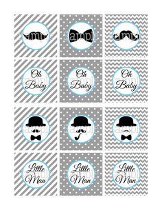 free printable bowtie and mustache templates | Printable Moustache Gray & Blue Baby Shower Mini Candy Wrappers ...