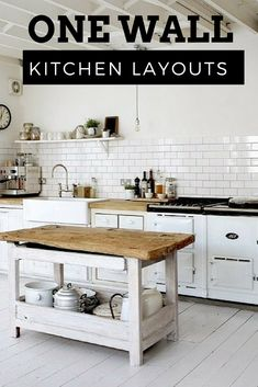 The one wall kitchen layout has all appliances, cabinets and sink on a single straight wall. This is a functional design that saves space while remaining open, popular in smaller kitchens, apartments, efficiencies but not uncommon in larger kitchen designs.
