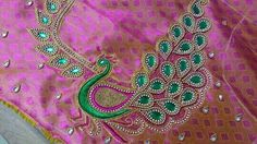Peacock Blouse Designs, Simple Blouse Designs, Blouse Designs Silk, Peacock Design, Tambour Embroidery, Embroidery Works, Embroidery Designs, Pink Saree Blouse, Mirror Work Blouse