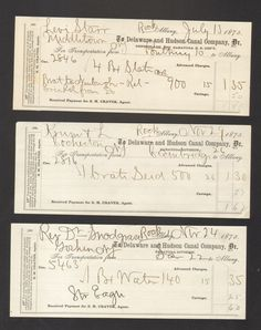 Lot of 3 1875 Receipts Delaware and Hudson Canal Company Freight Transportation
