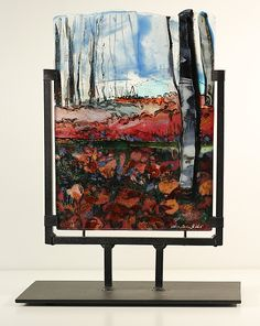 Poppies and Birch by Alice Benvie Gebhart: Art Glass Sculpture available at www.artfulhome.com