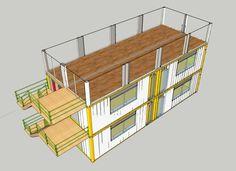Fotografías, renders y planos de un edificio de 3 plantas para aulas en la Universidad Juan N. Corpas (Bogotá), hecho con 6 contenedores de carga ISO40.