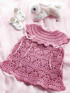 Chorrilho de ideias: Vestido bébé cor de rosa em crochet