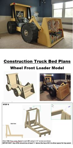 31 Indoor Woodworking Projects to Do This Winter Construction Truck Bed Plans Woodworking Plans, Woodworking Projects, Woodworking Basics, Woodworking Machinery, Woodworking Techniques, Woodworking Furniture, Tractor Bed, Bed Plans, Kids Furniture