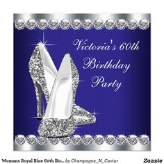 Womans Royal Blue 60th Birthday Party Card