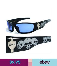 53588e29425 Men s Sunglasses Locs Mens Cholo Biker Sunglasses - Blue (Skull) Lc55  ebay