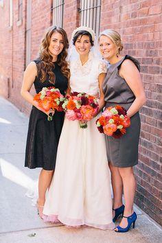 Mismatched bridesmaids dresses. Love. | @corbin | Brides.com