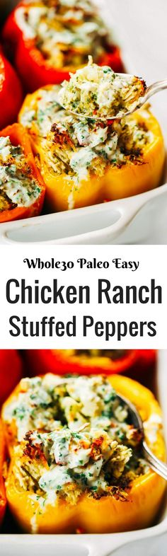 Business Cookware Ought To Be Sturdy And Sensible Ranch Stuffed Bell Peppers. A Quick And Paleo Meal For The Whole Family Stuffed With Cauliflower Rice, Shredded Chicken, Spicy Jalapeno And Cilantro Sauce. Whole30 Dinner Recipes, Paleo Dinner, Paleo Recipes, Whole Food Recipes, Paleo Meals, Vegetarian Dinners, Healthy Meals, Easy Whole 30 Recipes, Paleo Whole 30