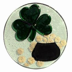 Fused Glass Shamrock Pot of Gold