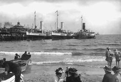 Paddling in the Bay Bournemouth, Buses, Paddle, Sailing Ships, Vintage Photos, Past, Steamers, History, Life