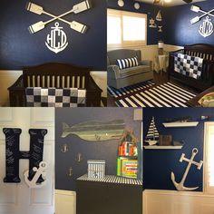 Nautical Nursery, baby boy room. Navy blue and white stripes, anchors, beach theme.