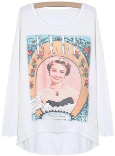 White Batwing Sleeve Beauty Print Dipped Hem T-Shirt - Sheinside.com