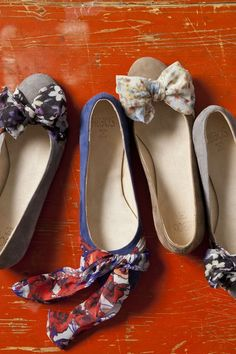 Add a bow with an old cut-up scarf to make plain flats adorable.