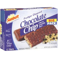 Sunbelt Chocolate Chip Chewy Fudge Dipped Granola Bars theses were my Fav as a kid & still are!!!:)