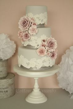 Vintage Lace & Rose Wedding Cake - This cake would look gorgeous with rustic chic wedding decorations! And a softer lace. Wedding Cake Roses, Beautiful Wedding Cakes, Gorgeous Cakes, Pretty Cakes, Rose Wedding, Amazing Cakes, Dream Wedding, Chic Wedding, Purple Wedding