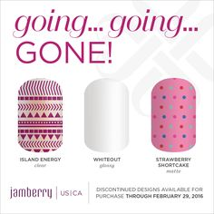 Going Going Gone! Retiring Jamberry https://annamorris.jamberry.com/us/en/shop/shop/for/nail-wraps?collection=collection%3A%2F%2F1090#.Vq_JNrIrJD9
