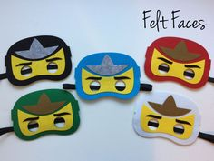 One set of 5 Ninjago party masks, one of each style shown in the photo. Each mask is made with premium felt, and has a black elastic band sewn to each side of the back. These adorable party masks are