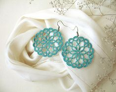 Big round filigree earrings Large teal lace earrings Tatted lace jewelry Boho Hippie mandala jewelry Turquoise lightweight statement jewelry