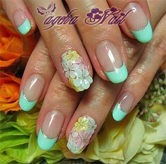 nail art mint green french+flower