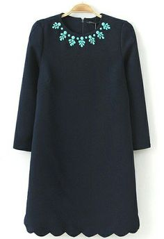 Navy Long Sleeve Bead Zigzag Dress US$34.43