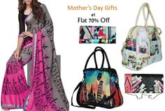 Here is a deal by #Triveni offering 70% off on various things that you can #gift to your Mom on #MothersDay like #clutches, #handbags, #sarees and other clothing.