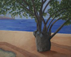 Tree on Kokkari beach Samos 50x60 cm acryl canvas Anthony van Gelder