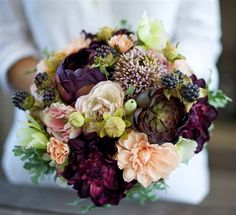 Plum, Eggplant and Peach Fall Wedding Rustic Bouquet with Peonies ...