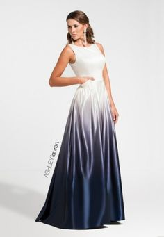 Wow the judges in this A-line ombre pageant dress. This traditional silhouette is upgraded with navy ombre satin. The dress is complete with pockets. Would be perfect as a prom gown, too!