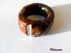 HandCarved Oak Wood Ring Natural Wooden Ring Brown by rusticouture